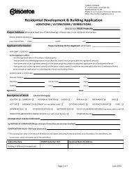 Residential Construction Application Form - City of Edmonton
