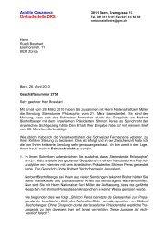 Beschwerde zur Sendung mit Peres - Netzwerk Schweiz für einen ...