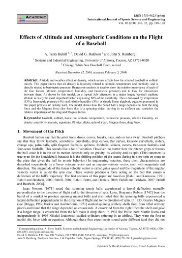 Effects of altitude and atmospheric conditions on the flight of a ...