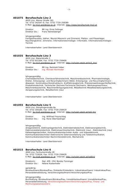 B E R U F S S C H U L E N in Oberösterreich - Landesschulrat für ...