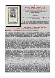 ACTIO SACRAMENTALIS - Luther in Braunschweig