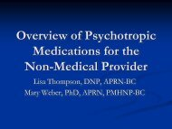 Overview of Psychotropic Medications for the Non-Medical Provider