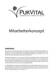 Mitarbeiterkonzept - Arbeiten bei PUR VITAL