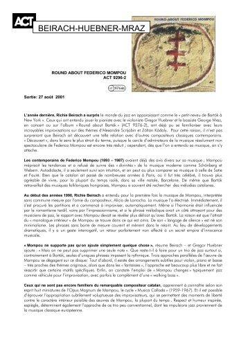 BEIRACH-HUEBNER-MRAZ - ACT Music + Vision
