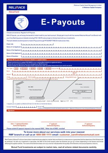E- Payouts - Reliance Mutual Fund