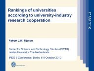 Rankings of universities according to university-industry research ...