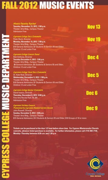 Download Fall 2012 Concert Schedule - Cypress College