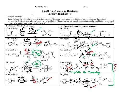 Carbonyl Reactions - Moravian College Chemistry Department