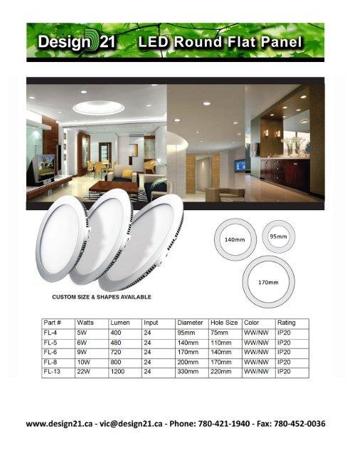 Desigrji Round Flat Panel Design 21 Led Lighting