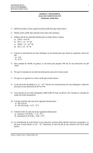 QUIMICA Y BIOQUIMICA GUIA DE EJERCICIOS Nº3 Soluciones ...