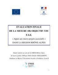 EVALUATION FINALE DE LA MESURE 10b OBJECTIF 3 DU F.S.E.