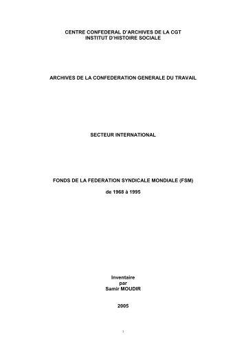 Fédération Syndicale Mondiale - Institut d'Histoire Sociale CGT