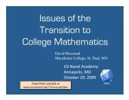 Issues of the Transition to College Mathematics - Macalester College