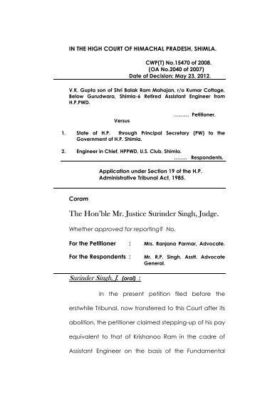 The Hon'ble Mr. Justice Surinder Singh, Judge. - High Court of ...