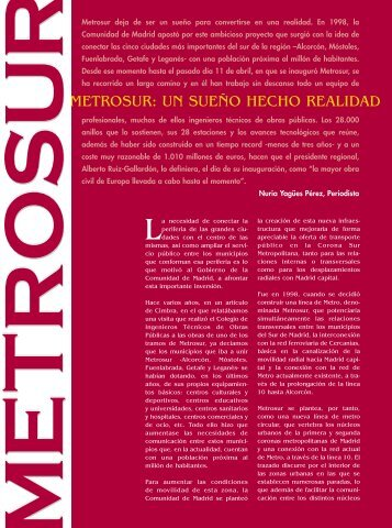 METROSUR: UN SUEÑO HECHO REALIDAD - Colegio de ...