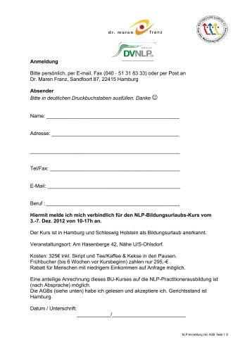 NLP-BU-Anmeldung 12_AGB - NLP in Hamburg :: Dr. Maren Franz