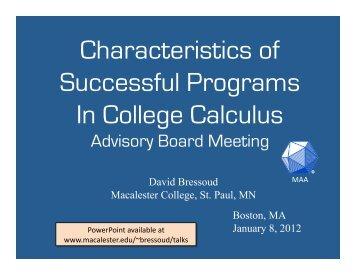 Characteristics of Successful Programs in College Calculus: Advisory