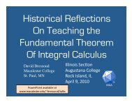 Historical Reflections On Teaching the Fundamental Theorem Of ...