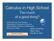 Calculus in High School - Macalester College