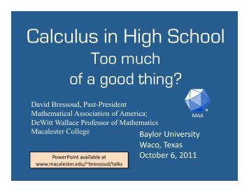 Calculus in High School - Macalester College