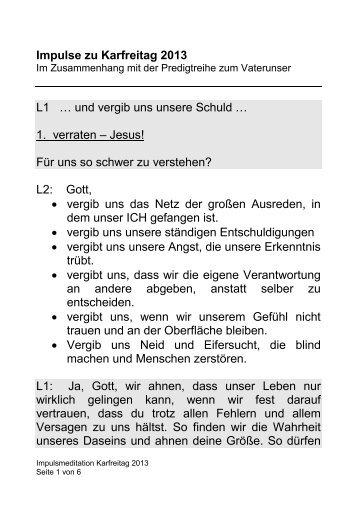 Impulse zu Karfreitag 2013 L1 … und vergib uns unsere Schuld … 1 ...