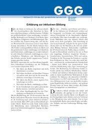 Erklärung zur inklusiven Bildung - Länger gemeinsam lernen