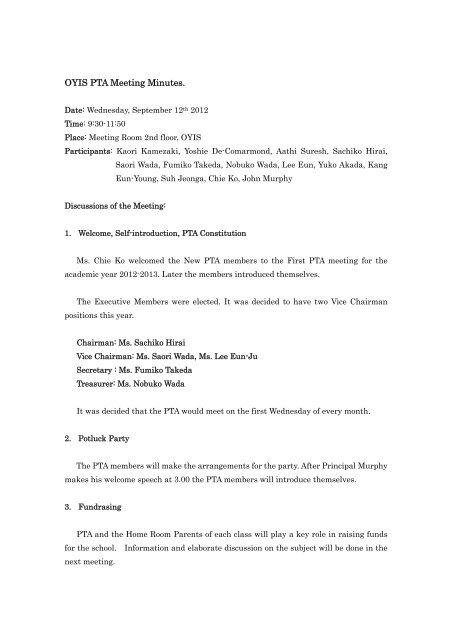 OYIS PTA Meeting Minutes