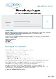 Bewerbungsbogen - Avicenna-Studienwerk