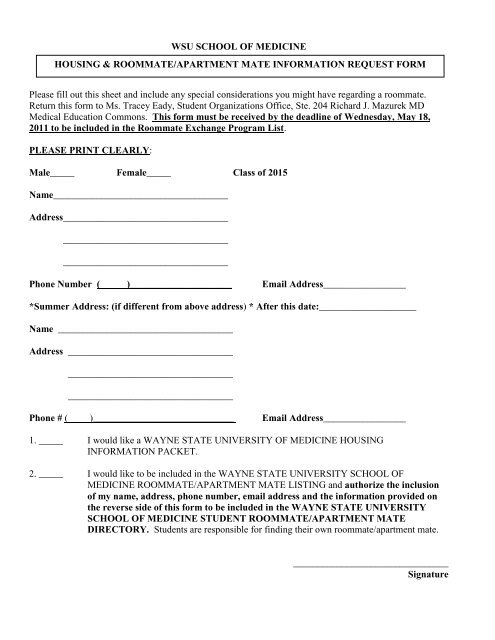 Roommate Exchange Form Student Affairs Wayne State University