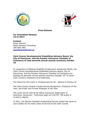 Press Release For Immediate Release: 10/2/2012 ... - Clark County