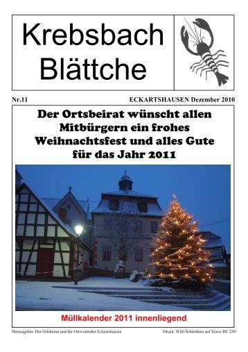 Der Ortsbeirat wünscht allen Mitbürgern ein frohes ... - Eckartshausen
