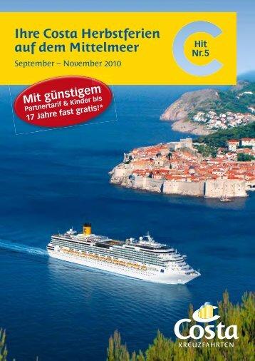 Ihre Costa Herbstferien auf dem Mittelmeer