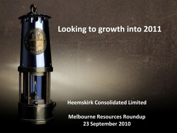 Corporate Update September 2010 - Heemskirk