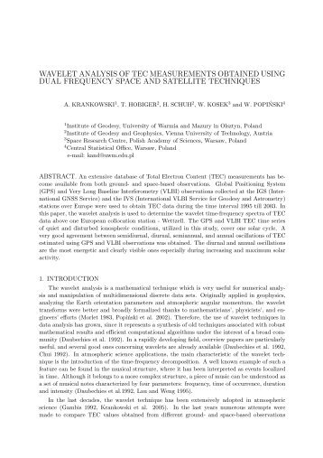 wavelet analysis of tec measurements obtained using dual ...