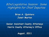 Legislative Update for Constable Chief Deputies - Harris County ...