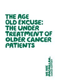 The age old excuse report - Macmillan Cancer Support