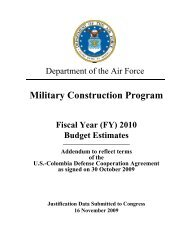 Air Force, PB and OCO, MILCON, Addendum, FY10