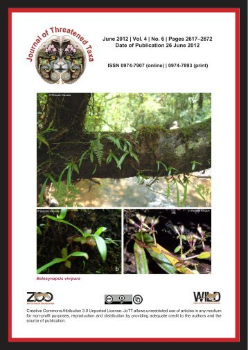 June 2012 | Vol. 4 | No. 6 - Journal of Threatened Taxa