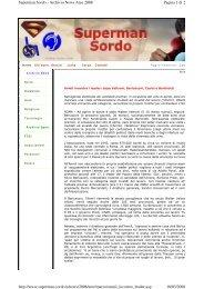 Pagina 1 di 2 Superman Sordo - Archivio News Aree 2008 18/03 ...