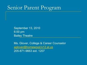 Senior Parent Program - Homewood City Schools