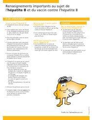 Renseignements importants au sujet de l'hépatite B et du vaccin ...