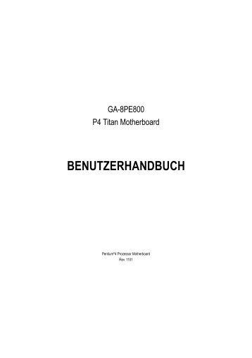 BENUTZERHANDBUCH - Gigabyte