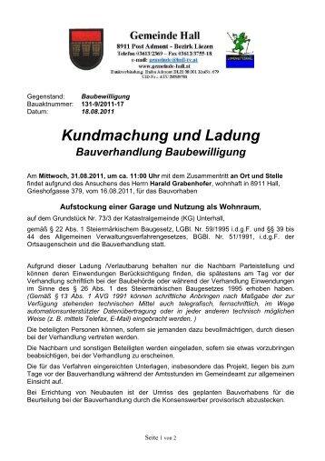 Bauverhandlung Grabenhofer - Gemeinde Hall