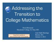 David Bressoud Macalester College, St. Paul, MN Joint Math ...