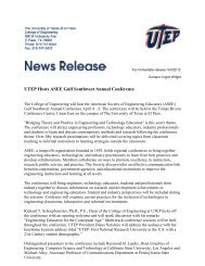 UTEP Hosts ASEE Gulf Southwest Annual Conference - College of ...