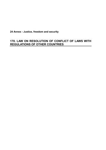 law on resolution of conflict of laws with regulations of other countries