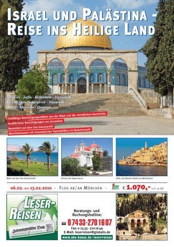 ISRAEL UND PALÄSTINA - REISE INS HEILIGE LAND ISRAEL ...