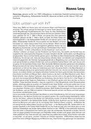 Hanna Levy Wir erinnern an Was wissen wir von ihr? - Magdeburg