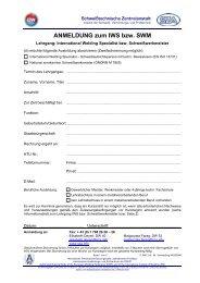 ANMELDUNG zum IWS bzw. SWM - Schweißtechnische Zentralanstalt