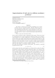 Approximation of safe sets in collision avoidance problems1